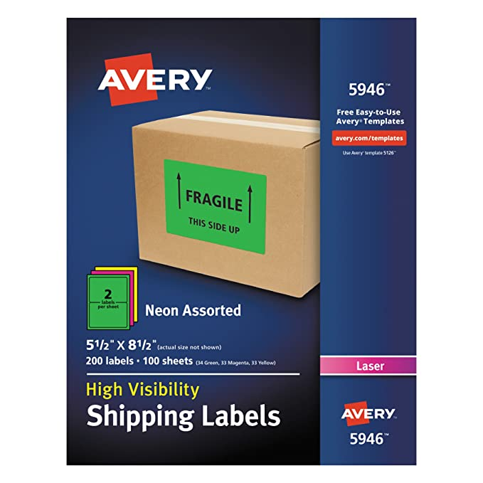 Amazon Avery High Visibility Neon Shipping Labels For Laser