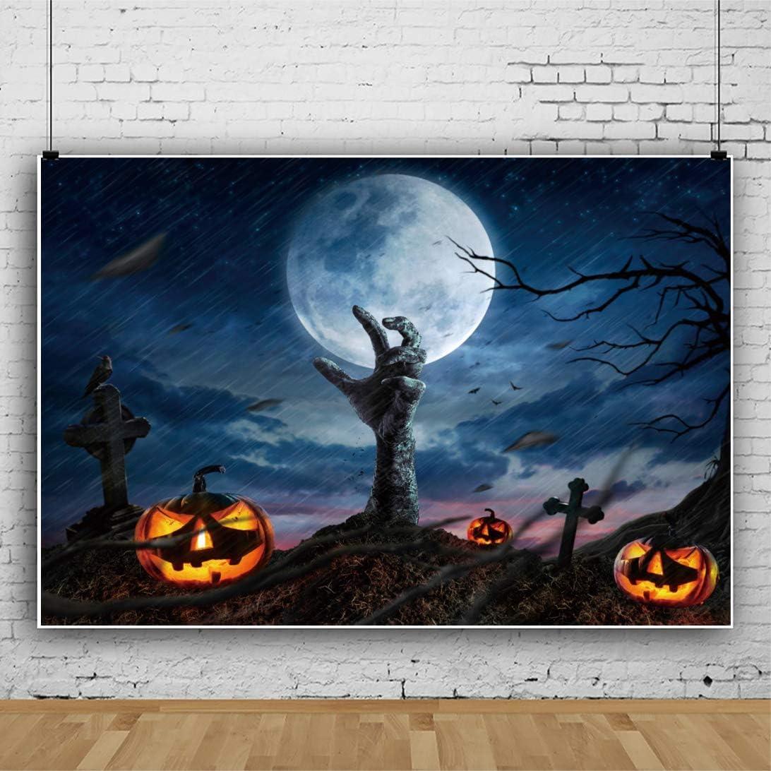 Halloween Night Background 8x6ft Zombie Hand Photography Backdrop Grimace Pumpkin Lamp Bright Full Moon Twinkle Stars Rainstorm Gloomy Day Bat Graveyard Cross Horror Party Photo Prop Studio
