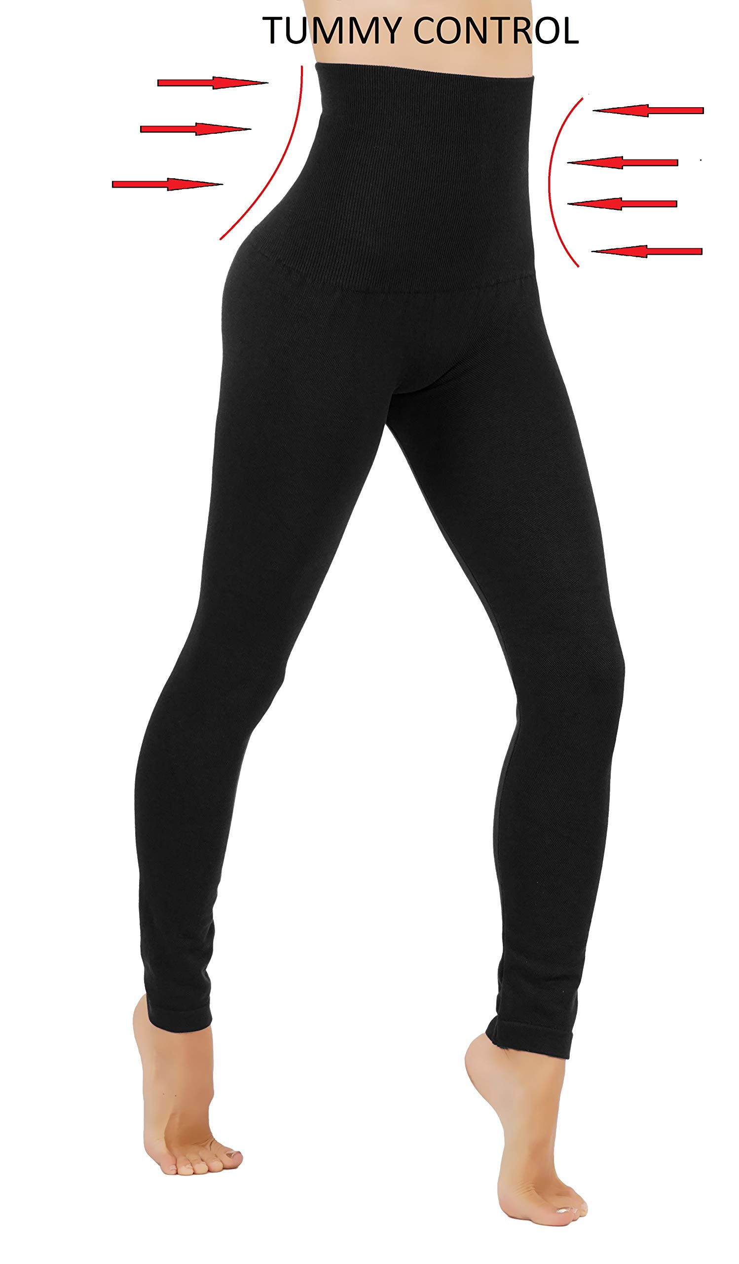 Premium Tummy Control High Waist Slimming Thick Fleece/French Terry (L/XL US Size 8-14, FD48-BLK) by Fit Division (Image #1)