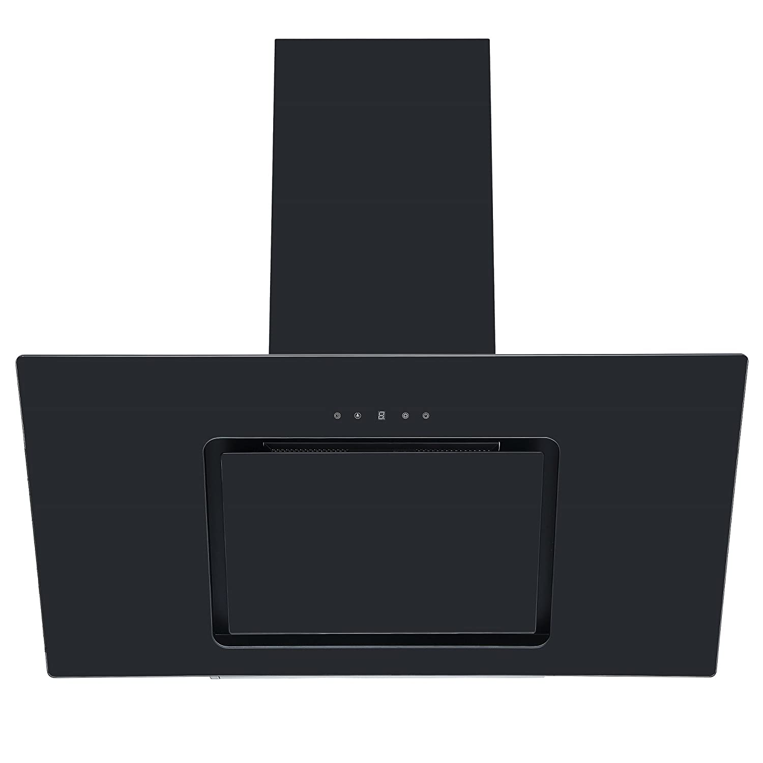 Cookology VER905BK 90cm Black Angled Glass Chimney Cooker Hood | Touch Controls [Energy Class C]