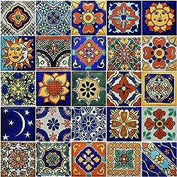 50pintado a mano decorativos de Talavera mexicano azulejos 5.1x 5.1cm