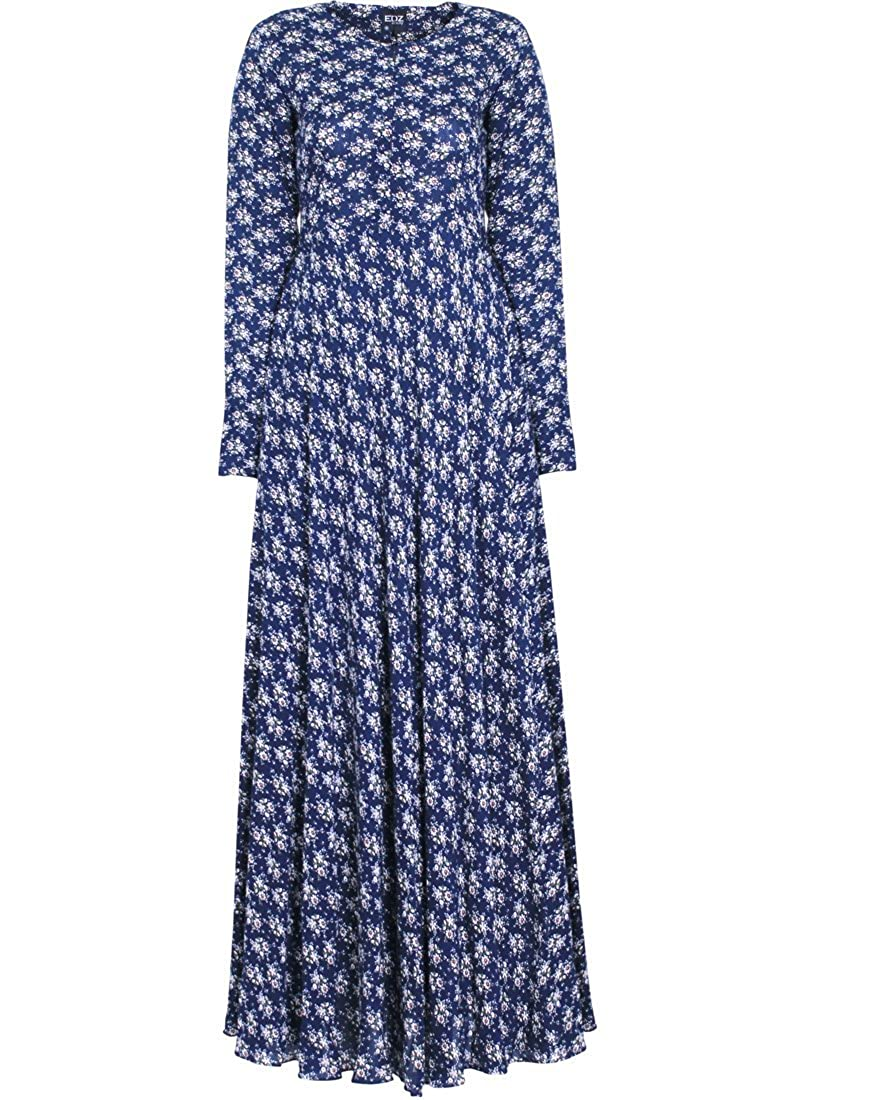 Edwardian Costumes – Cheap Halloween Costumes  Floral Print Modest Maxi Dress $66.00 AT vintagedancer.com