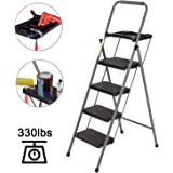 CharaVector 4 Step Ladder, Lightweight Folding Step Stool with Tool Platform and Convenient Handgrip, Sturdy Wide Pedal…