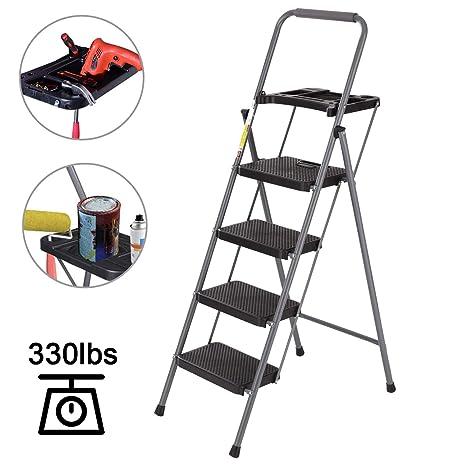 Amazon.com: CharaVector Escalera de 4 peldaños, taburete ...