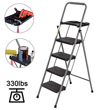 Strange 4 Step Ladder Charavector Lightweight Folding Step Stool With Tool Platform And Convenient Handgrip Sturdy Wide Pedal For 330 Lbs Capacity Pabps2019 Chair Design Images Pabps2019Com