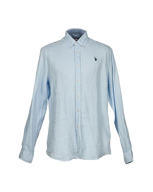 US Polo Association - Camisa Formal - para Hombre Azul Claro S ...