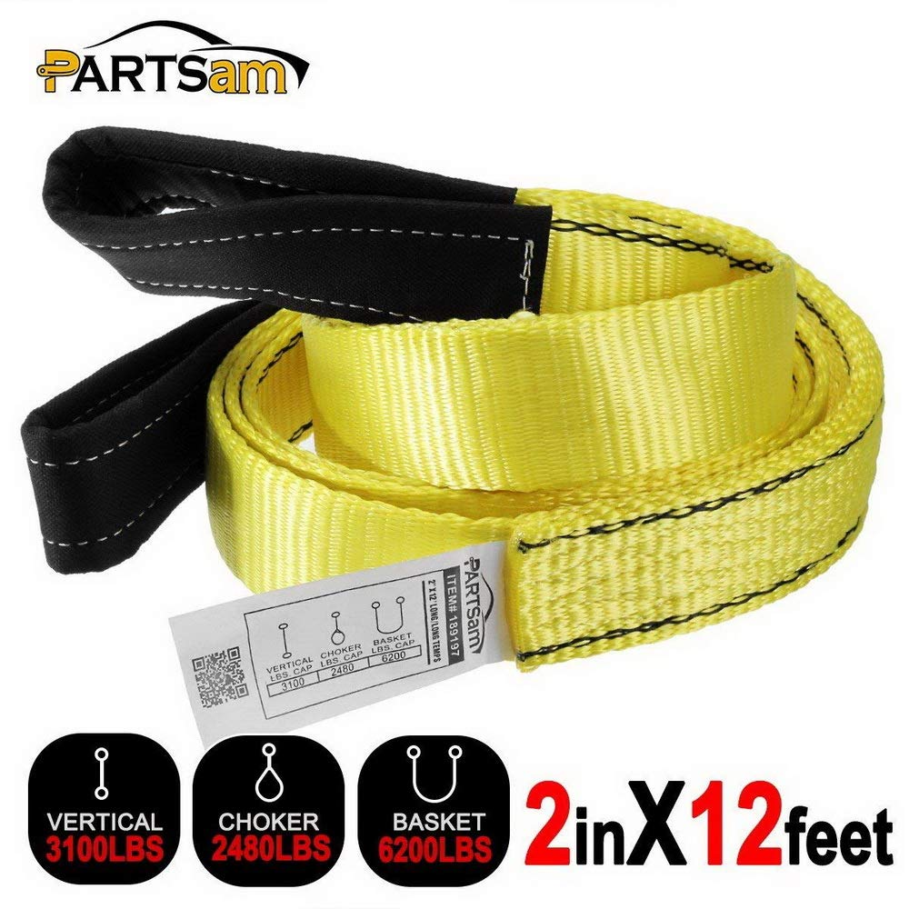 Premium Crane Towing Strap 12feet x 2inch Durable 3400Dtex - Heavy Duty Web Sling - Corrosion Resistance Polyester Industrial Flat Eye-Eye Ropes by Partsam