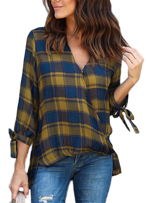 Astylish Women Casual Plaid V Neck 3 4 Long Sleeve Blouses and Tops Shirts Yellow Medium by Astylish (Image #1)