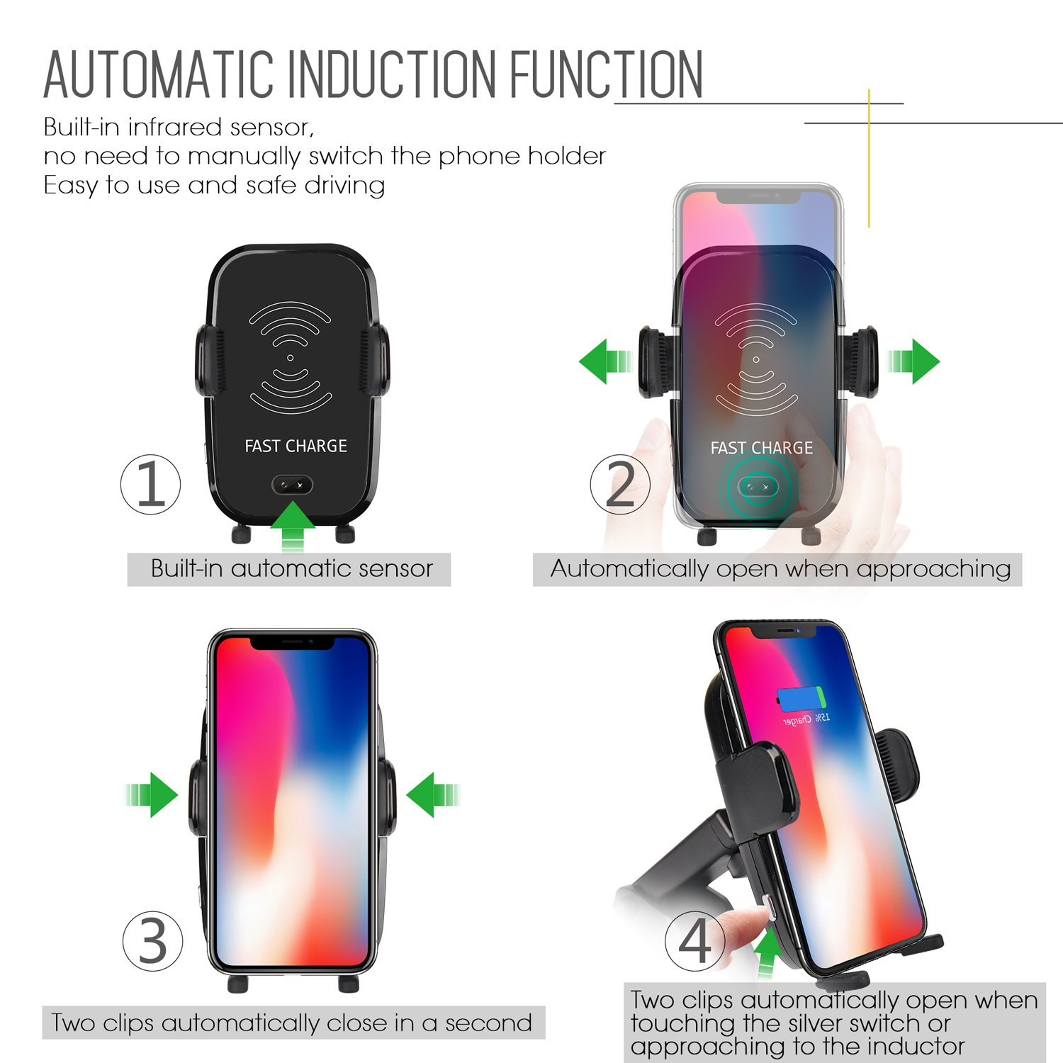 8//8 Plus Samsung Galaxy S8 ANNKOO Wireless Car Charger,Automatic Induction Note 8,Compatible with Standard Qi-Enabled Devices 10W 4351536642 Phone Holder Car Mount Fast Charging for iPhone X S7//S7 Edge