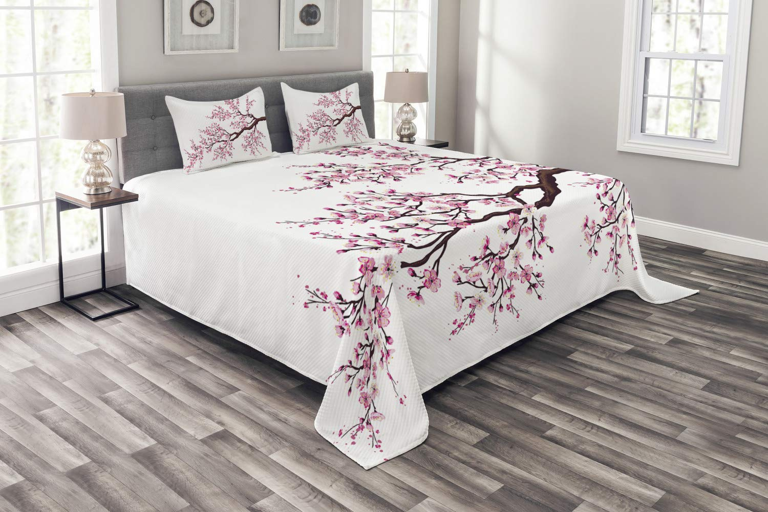 Ambesonne Japanese Bedspread, Branch of a Flourishing Sakura Tree Flowers Cherry Blossoms Spring Theme Art, Decorative Quilted 3 Piece Coverlet Set with 2 Pillow Shams, Queen Size, Dark Brown