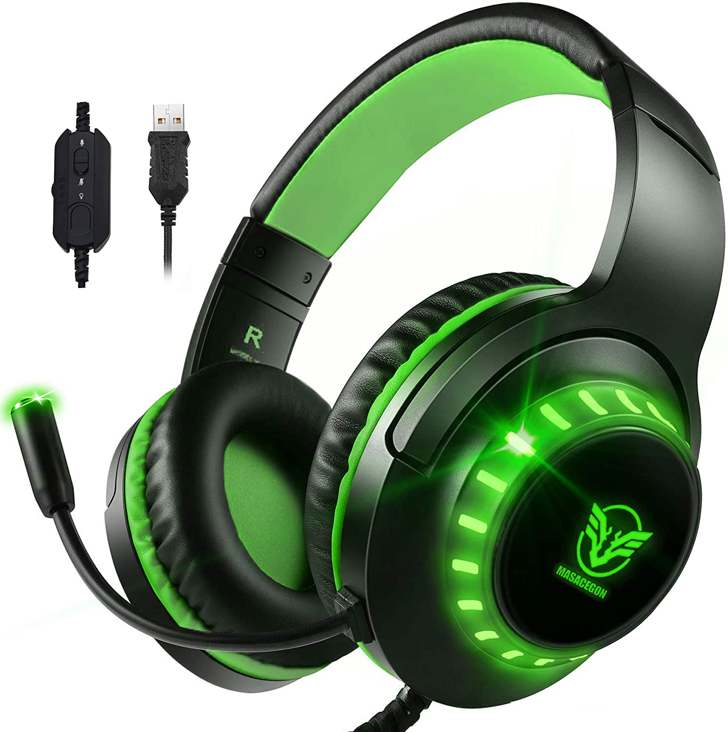 Pacrate 7.1 USB Stereo Gaming Headset with Microphone Noise Cancelling Surround Sound USB Headphones with LED Lights for PC Laptop Mac Wired Over-Ear Headset for Kids Adults(Black Green)