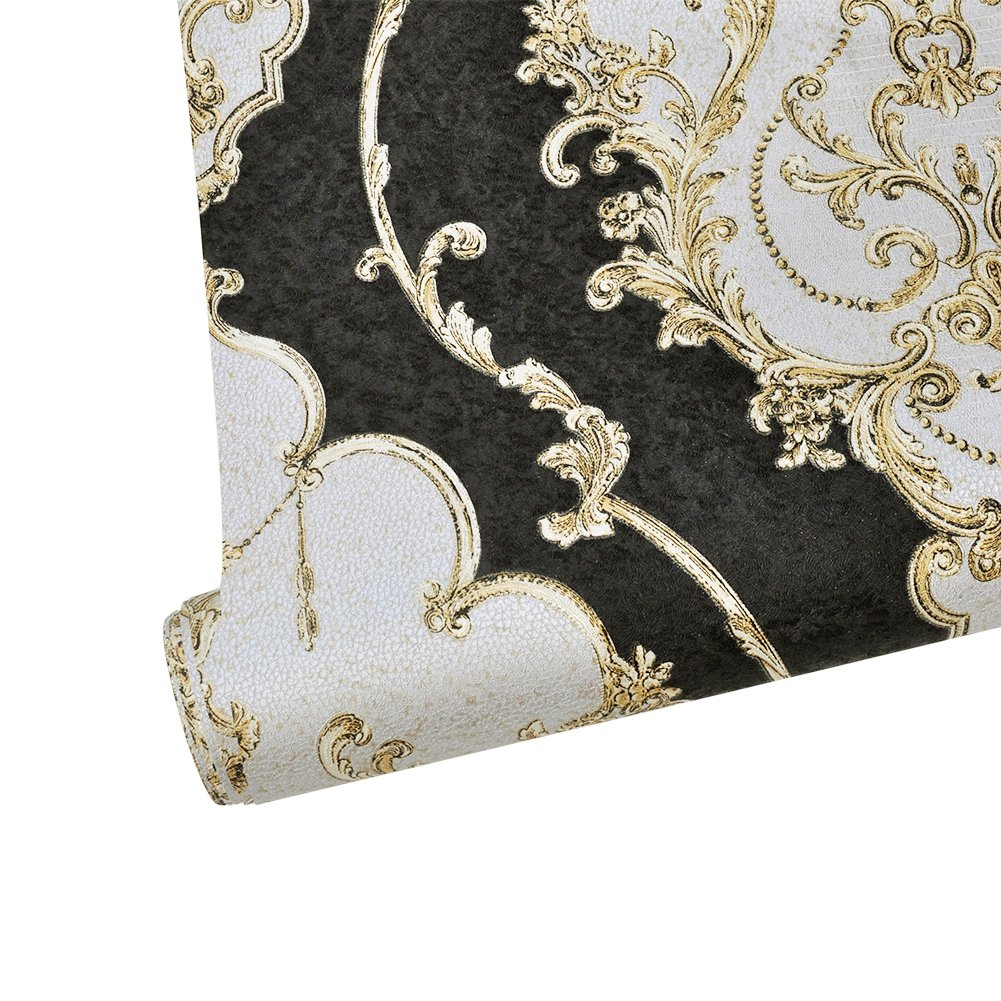 HaokHome 360207 Luxury Heavy Texture Victorian Damask Wallpaper Black/Gold/Brown/Silver for Home Accent Wall 20.8''x 31ft by HAOKHOME (Image #6)