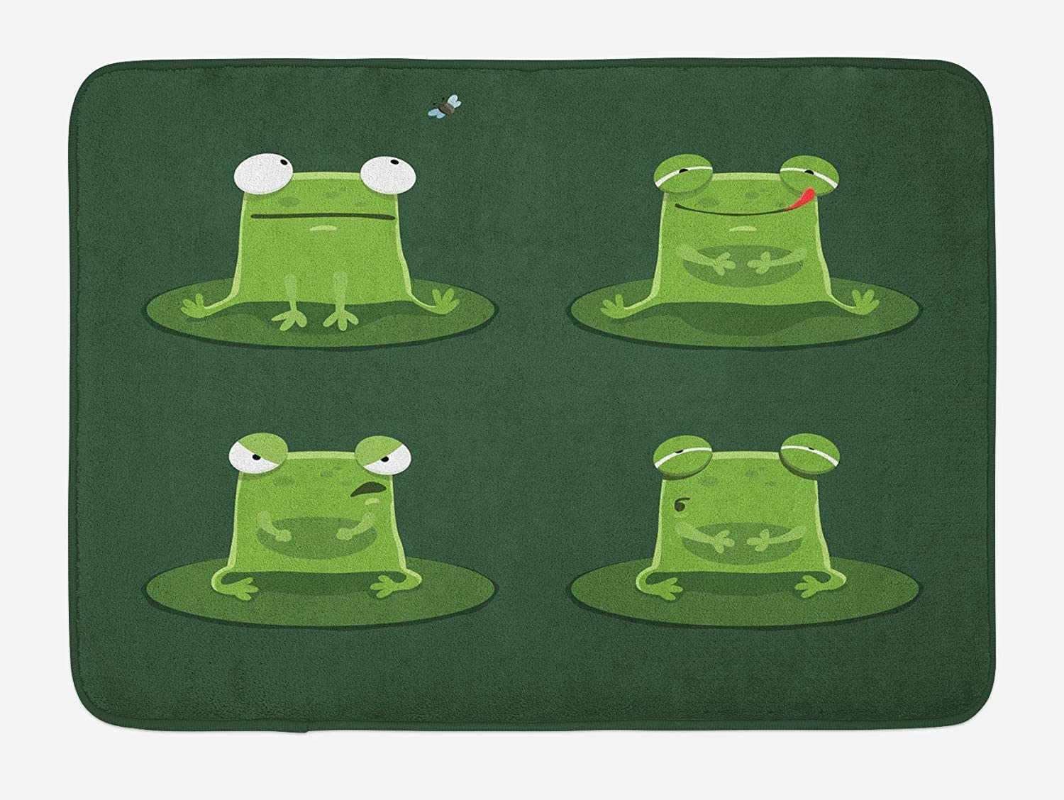 CdHBH in The Pond Lily Pads on The Lily pad Funny Confused Frog Modern Bathroom Home Decoration Non-Slip Bath mat Door mats Flannel Material Outdoor Door Decoration Room