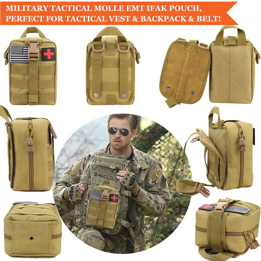 Monoki First Aid Survival Kit, 302Pcs Tactical Molle EMT IFAK Pouch Outdoor Gear EDC Emergency Survival Kits First Aid Kit Trauma Bag for Hiking Camping Hunting Car Travel or Adventures(Mud Yellow) by Monoki (Image #2)