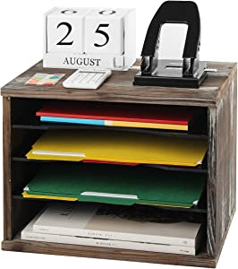 J JACKCUBE DESIGN Rustic Wood Desk Organizer Paper File Holder for Home and Office, Document Storage, File sorter, Mail and Letter Tray(4 Compartments) - MK560A