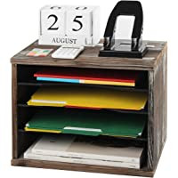 J JACKCUBE DESIGN Rustic Wood Desk Organizer Paper File Holder for Home and Office, Document Storage, File sorter, Mail…