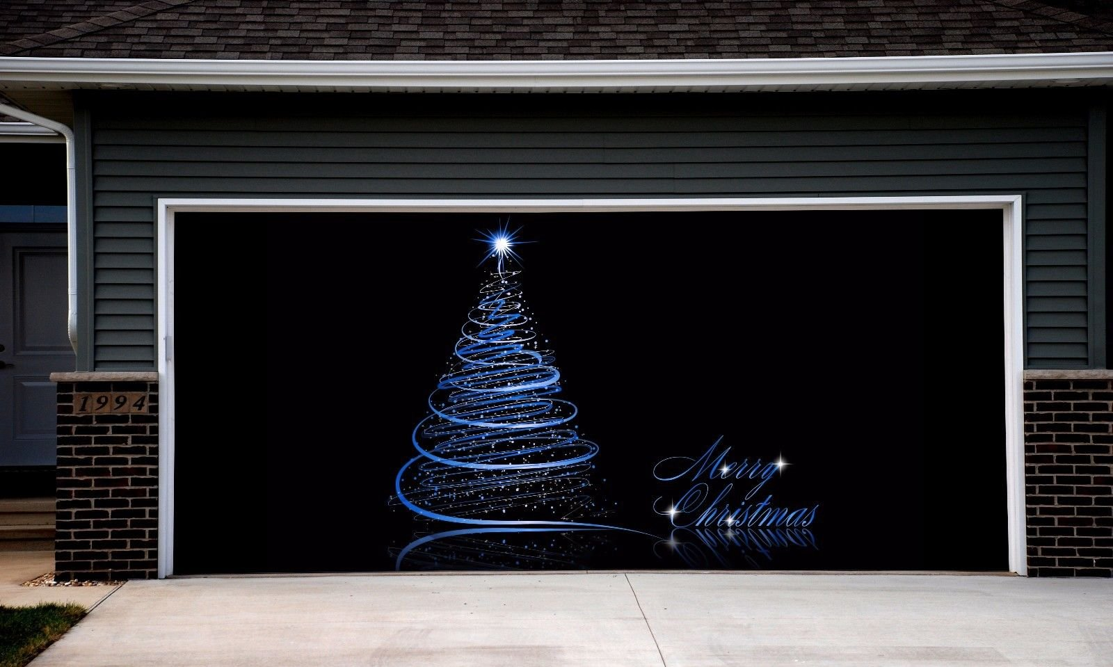 Christmas Tree 3D Garage Door Covers Banners Outdoor Holiday Full Color Merry Christmas Decorations Billboard for 2 Car Garage Door House Art Murals size 82x188 inches DAV55