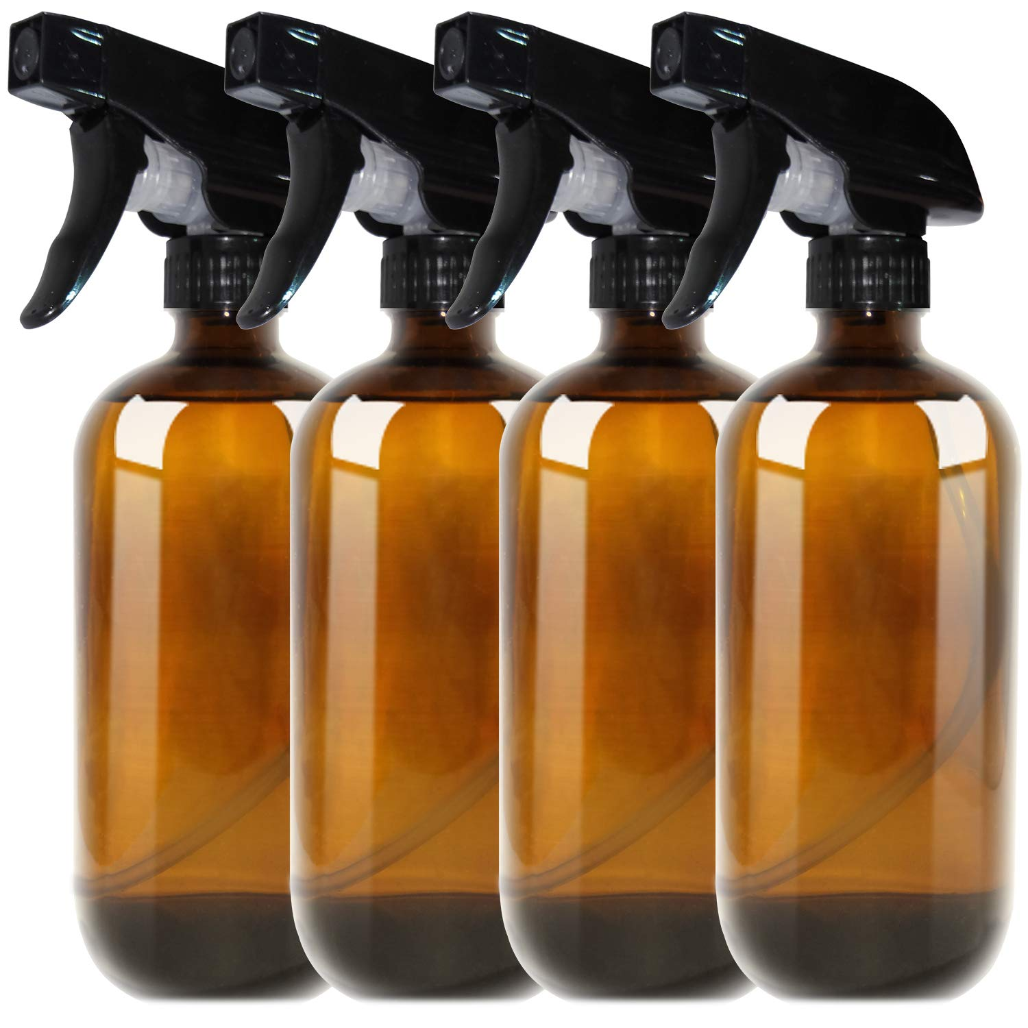 455ml (16oz) Amber Boston Spray Bottles 4 Pack - Refillable Container with Trigger Sprayers, Caps and lables, Glass Bottle for Essential Oils, Cleaning, Room Spritzers or Aromatherapy THETIS Homes
