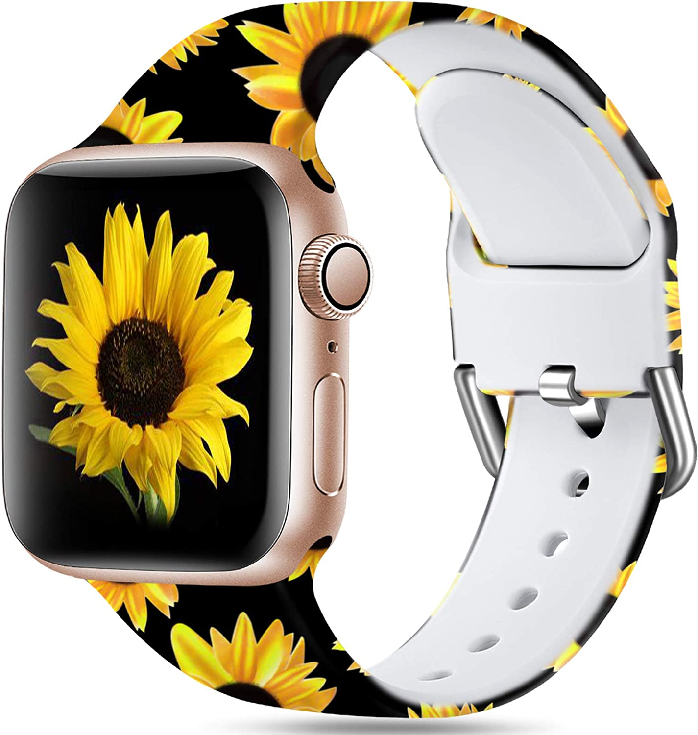 Dirrelo Bands Compatible for Apple Watch 44mm 42mm Soft Silicone Pattern Printed Band Strap for iWatch SE & Series 6 & Series 5 4 3 2 1 Women Men Wristband, S/M Sunflower