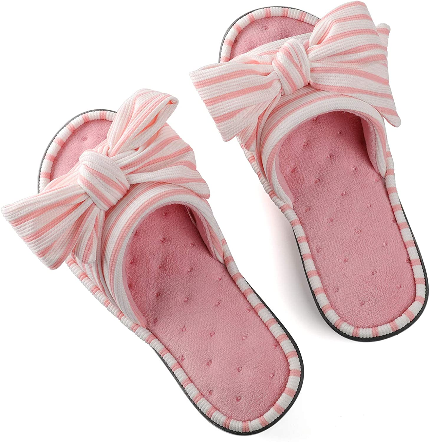 Ladies Cute Slip-on House Shoes Spa Mules Sandals with Indoor Outdoor Anti-Skid Rubber Sole ULTRAIDEAS Womens Memory Foam Open Toe Slide Slippers with Adjustable Strap and Cozy Terry Lining