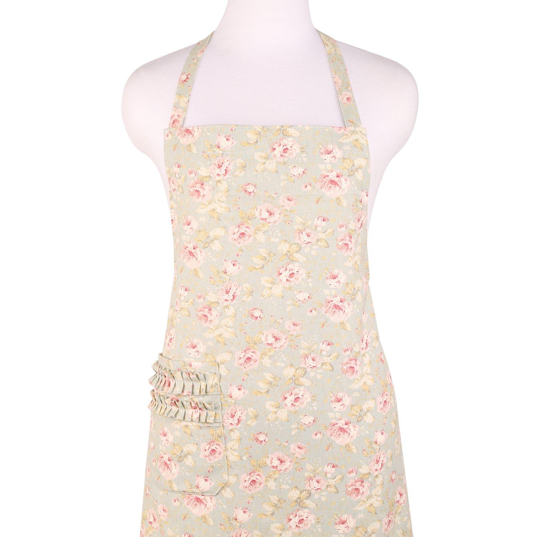 Neoviva Cotton Canvas Kitchen Apron for Women with Pocket, Style Selina, Floral Frosty Green XinDaSheng(HangZhou) Arts Co. LTD Apron_Selina