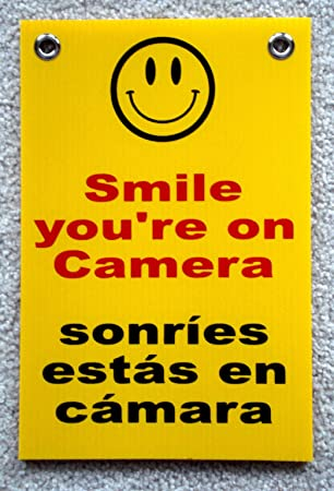 """SMILE YOU/'RE ON CAMERA  SIGN 8/""""x12/""""   NEW with Grommets Security Surveillance"""