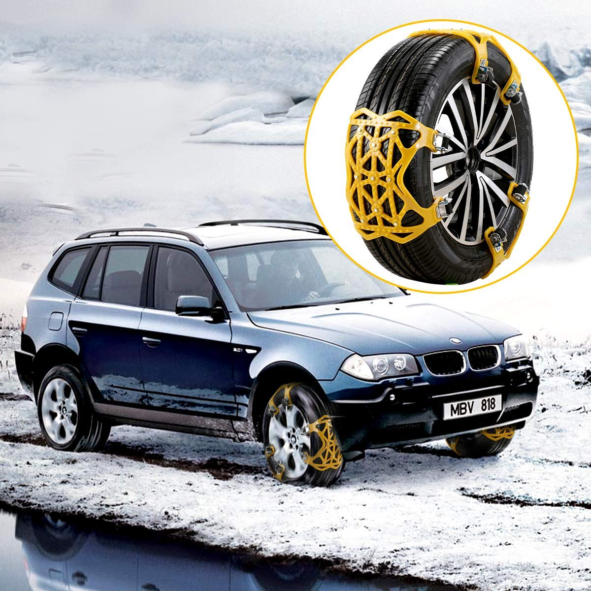 6 Packs, M1 Snow Road Sand Road 165mm-265mm Osaloe Universal Snow Chains Car Snow Chains Anti-skid Chains for Car Truck SUV in Winter Driving