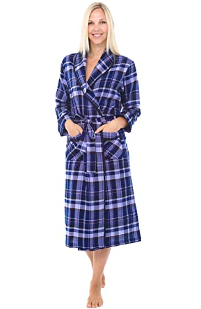 Cotton Plaida0549q18lg Womens Flannel BathrobeLarge Del RobeLightweight Rossa Blue Alexander uFlJ3c5TK1