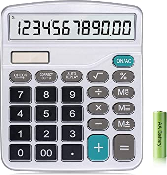 White NUOBESTY 12-Digit Solar Battery Basic Calculator Handheld Desktop Calculator Solar Battery Dual Power with Large LCD Display Big Sensitive Button No Battery
