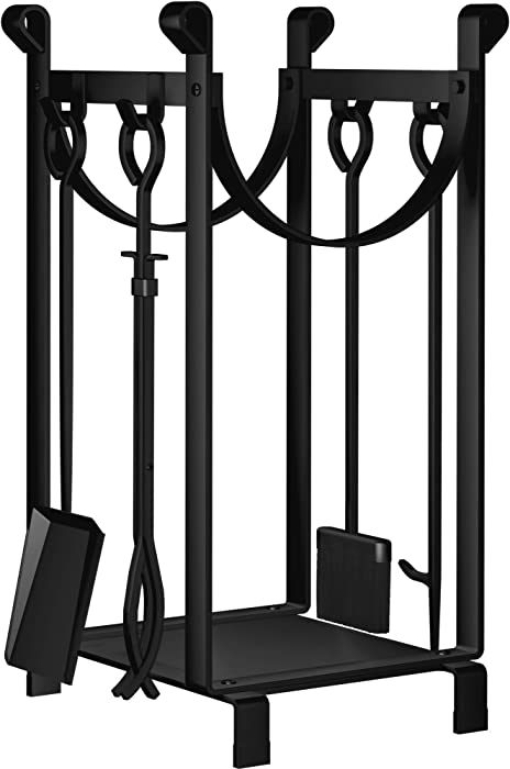 Amagabeli 30.7in Tall Fireplace Log Rack with 4 Tools Indoor Outdoor Firewood Holders Lumber Storage Stacking Black Wrought Iron Logs Bin Holder for Fireplace Tool