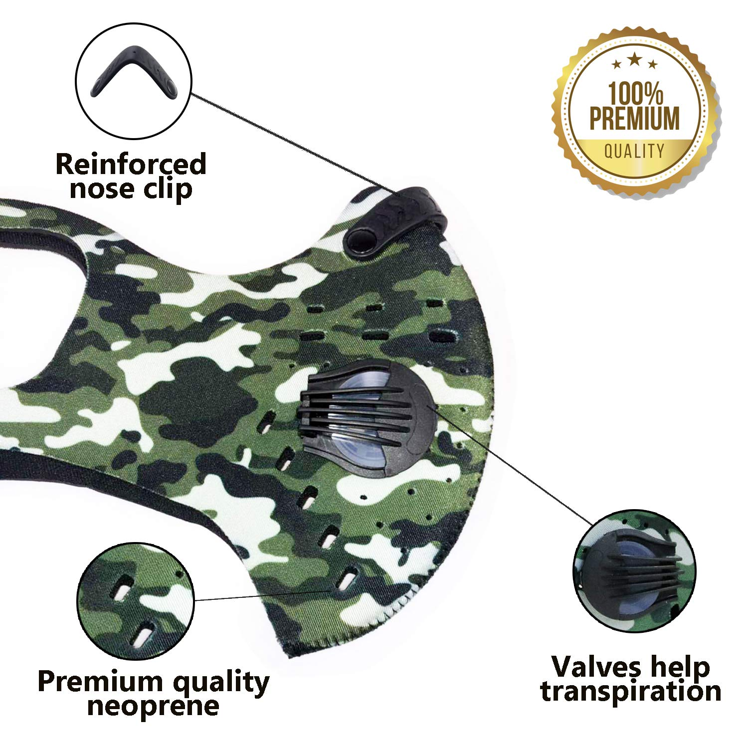 Activated Carbon Dust Mask for Breathing Clean Air, with Extra Filters, Excellent for Cycling, Running, No more Exhaust Gas, Dustproof, Anti Allergy and Pollution, PM2.5 N99, Outdoor Activities (Camo) by AirShielz (Image #2)