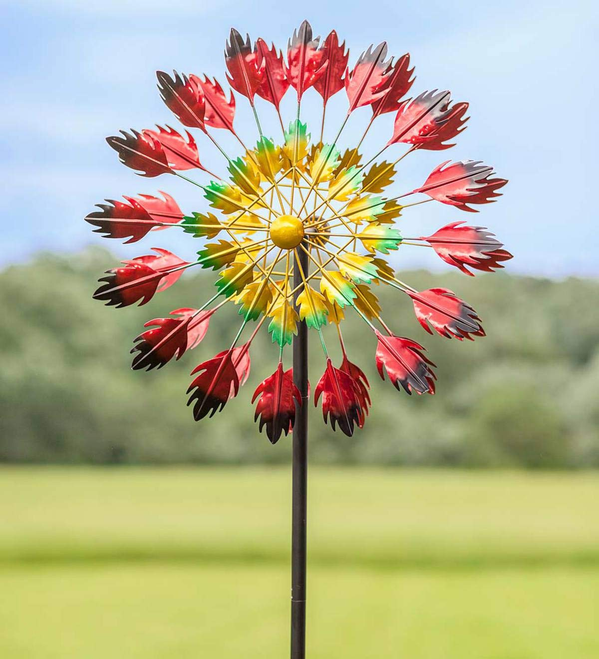 Plow & Hearth Red Feather Wind Spinner - 24 Dia. x 10.25 D x 75 H
