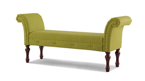 Jennifer Taylor Home Elise Roll Arm Entryway Bench, Moss Green