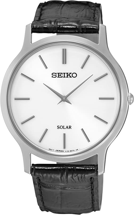Seiko Men's Acciaio INOX Quartz Watch with Leather Strap