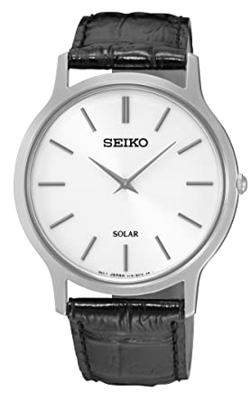 gents mens stainless steel seiko solar watch on black leather gents mens stainless steel seiko solar watch on black leather strap sup873p1