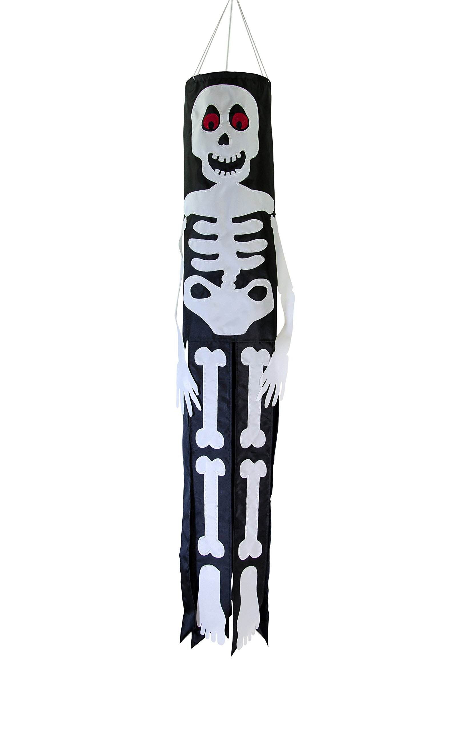 In the Breeze Lil' Bones Skeleton 40 Inch Windsock - Hanging Halloween Decoration - Outdoor Holiday Decor
