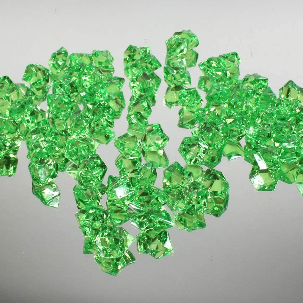 WGV Acrylic Ice Rock Crystals Treasure Gems for Table Scatters, Vase Fillers, Wedding, Banquet, Party, Event, Birthday Decor (Approx 150 pcs per Bag), 1 Bag, 1 Pound, Apple Green
