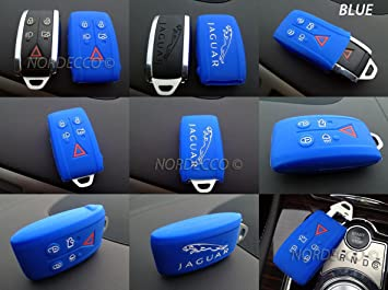 Protex JAG12BLU Quality Silicone 5 Button Smart Intelligent Keyless Fob Protector CaseCover Glove Jacket 2008 2009 2010 2011 2012 2013 2013 2014 NAVY BLUE
