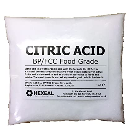Hexeal CITRIC ACID   1KG BAG   100% Anhydrous   Fine   GMO Free   BP/FCC  Food Grade