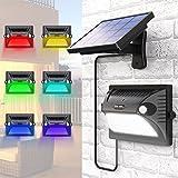 Lampe Solaire MATONE 12 LED Éclairage Solaire Extérieur 180° Grand Angle Détecteur de Mouvement [Panneau Solaire Réglable] 5 Modes d'Éclairage pour Jardin Garage Cour Terrasse Escalier Allée (Coloré)