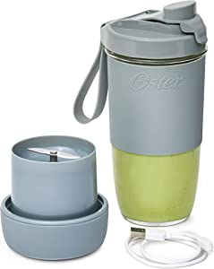 Oster Blend Active Portable Blender with Drinking Lid, USB Chargeable Personal Blender, Gray