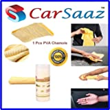 Carsaaz Super Absorbent PVA Drying Chamois Leather Towel for Car/Office/Home Cleaning - Super Absorption Capacity of 250 Ml Water(40X30 cm)