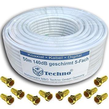 M&G Techno Antenas, 50 m Cable coaxial + 10 Conectores F Sat Marca ...