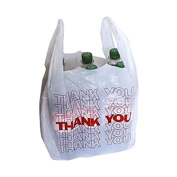 50 x Bolsa de transporte para diferenciar blanco estuche de cartón con asa bolsa de plástico THANK YOU 54 x 28 + 12 cm 24my 15l