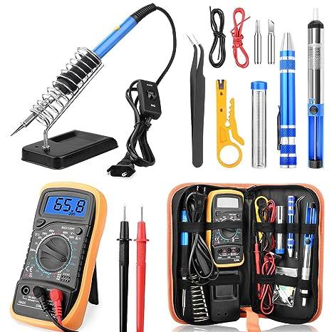 ETEPON Soldering Iron Kit 60W Adjustable Temperature Digital Multimeter, Soldering Stand, Desoldering Pump, 2 Electronic Wire, Stripper Cutter, 2pcs ...