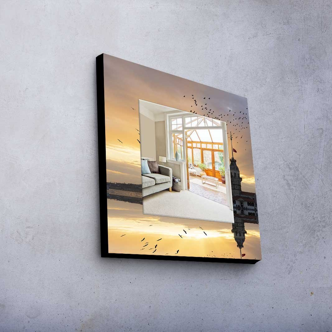 LaModaHome Home Decorative Real Mirror 100% MDF Framed (8'' Thickness) Wall Art Panel (20'' x 20'' Total) Bird Sea Maiden'S Tower Reflection Animal Istanbul