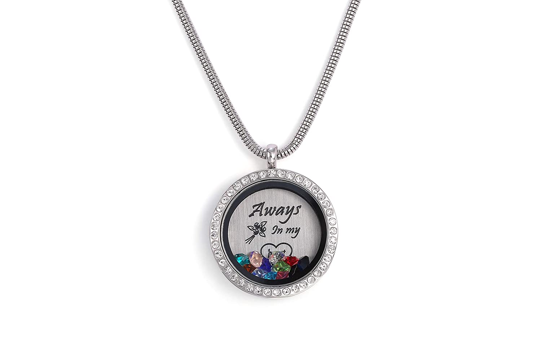 Zealmer 12 Birthstone Floating Living Memory Locket Pendant Necklace for Women Girls