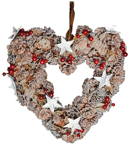 Christmas Heart Wreath.Large Heart Shaped Christmas Wreath Large 33cm Xmas Wreaths Berry Cone Garland