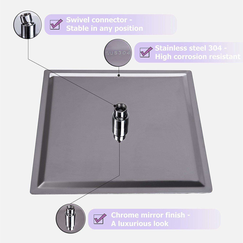 Suguword Pommeau de douche en acier inoxydable anti-calcaire avec t/ête de douche carr/ée 40 x 40 cm