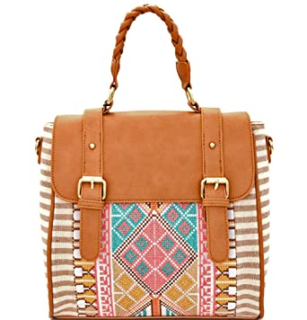 MMS Design Studio Boho Convertible Backpack Crossbody Satchel -Navy (Beige) a5005b216a8a0